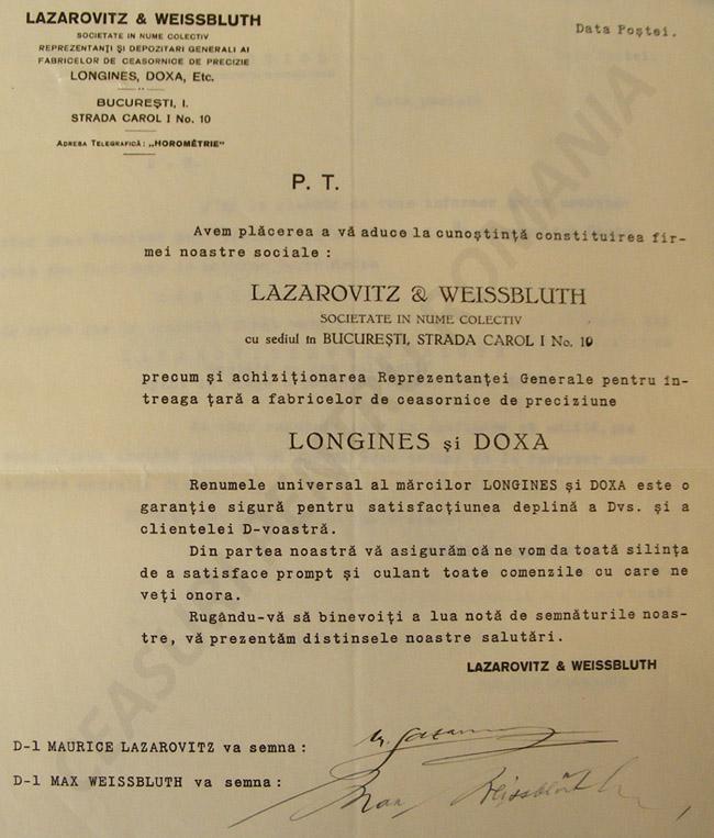 anunt parteneri infiintare firma | Lazarovitz & Weissblueth | 1929