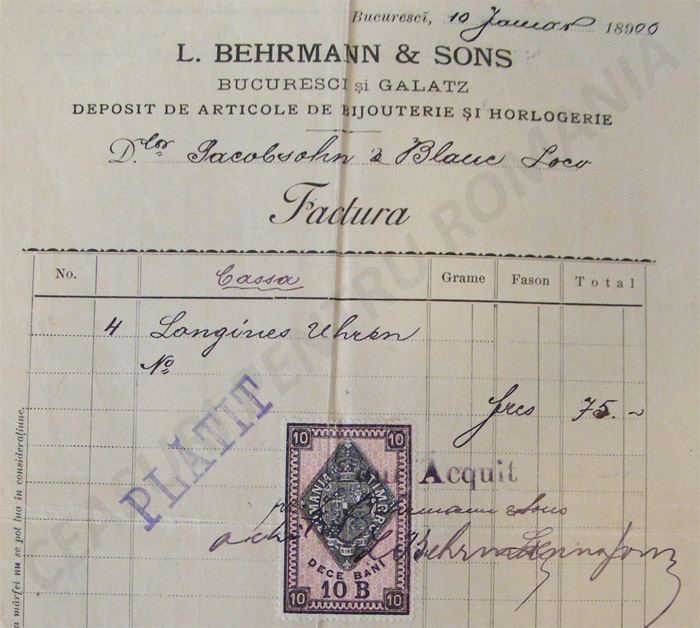 L. Behrmann & Son | factura ceasuri Longines | 1900