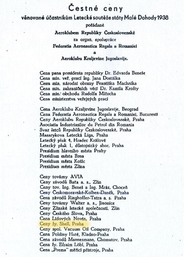 lista premiilor Concursului Aviatic al Micii Antante - 1938 | dupa programul concursului (sursa - bibliografie 1)