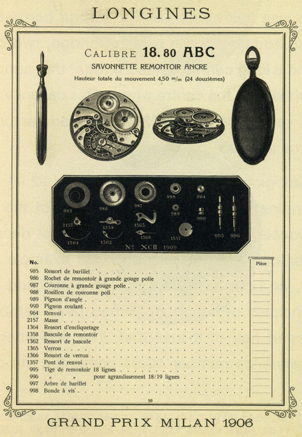 Longines - descriere catalog cal. 18.80 ABC