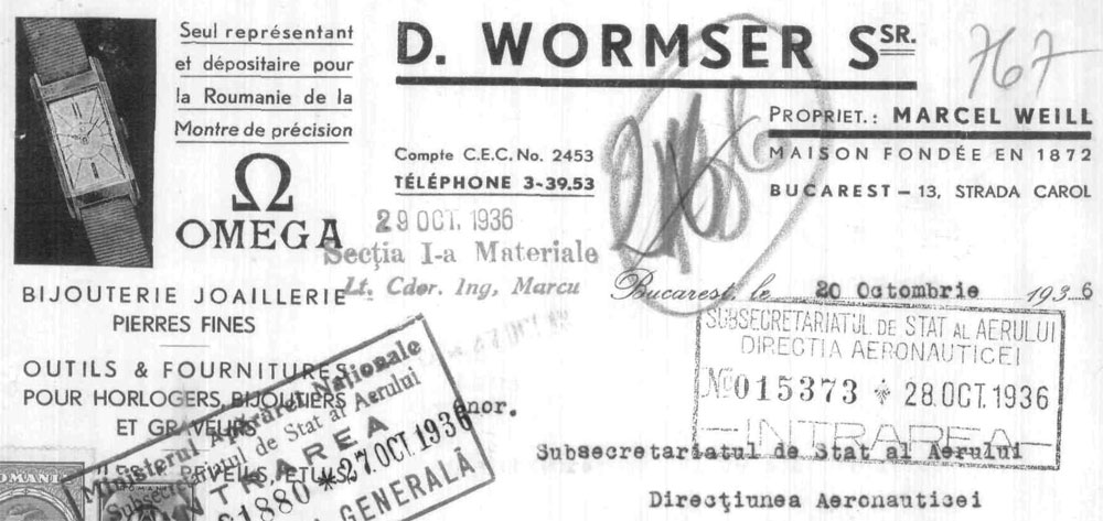 Omega | antet Marcel Weill | 1936