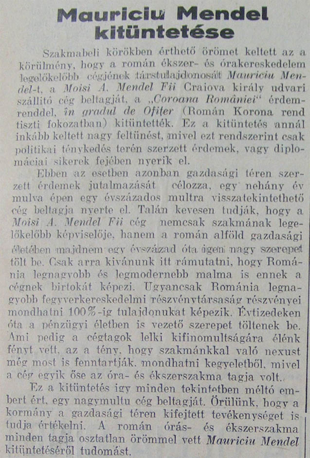 decorare Mauriciu Mendel | Orologiul, an IV, nr. 1 1930 (maghiara)