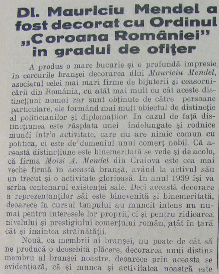 decorare Mauriciu Mendel | Orologiul, an IV, nr. 1 1930 (romana)