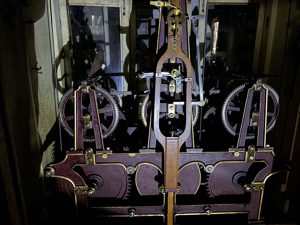 Castelul Peles - ceas de turn Johann Manhardt (mecanism cu detaliu pendul) | 1907