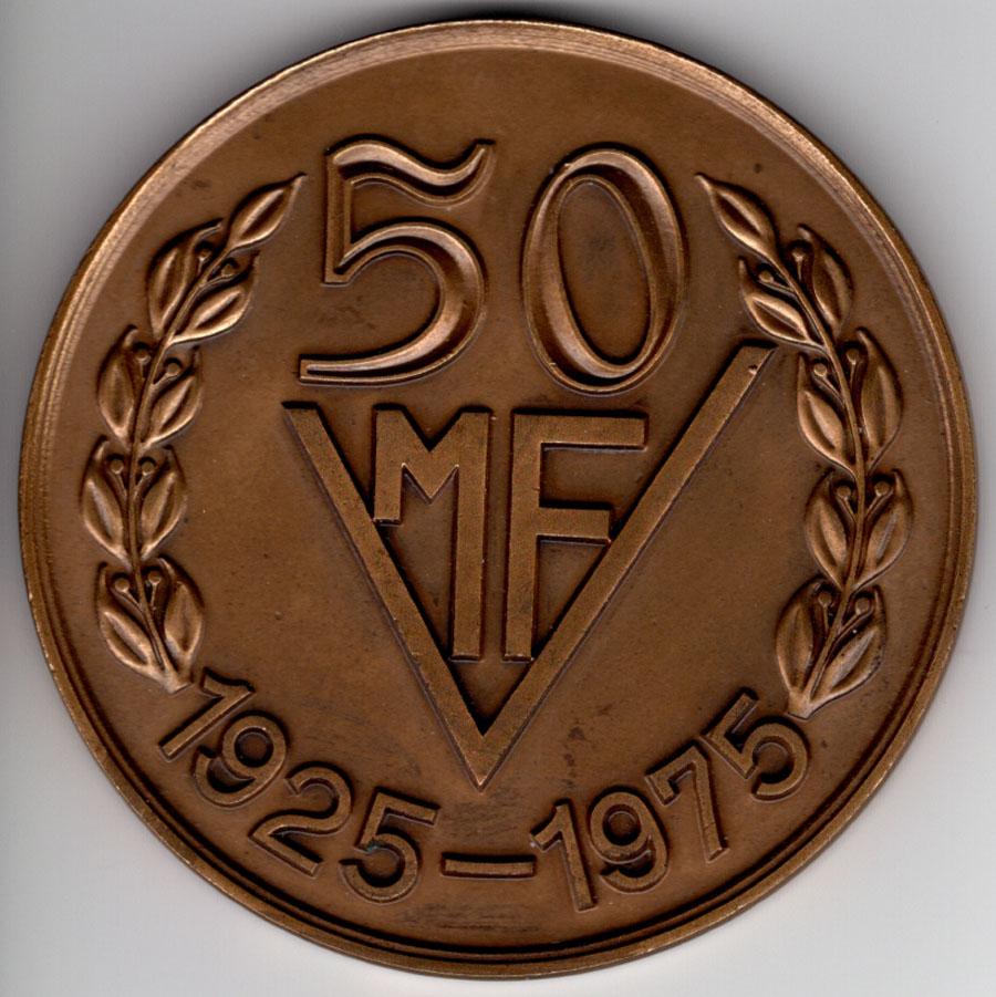 medalie aniversara Mecanica Fina 50 ani (1925-1975) - avers