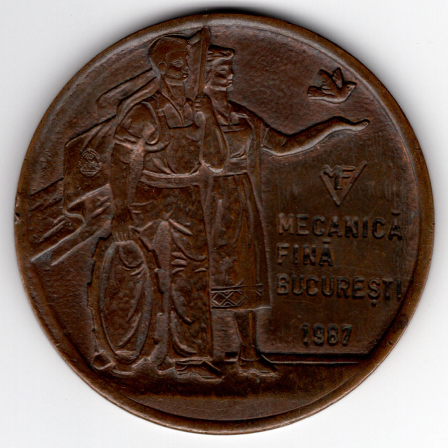 medalie activitate - Mecanica Fina| 1987 (avers)