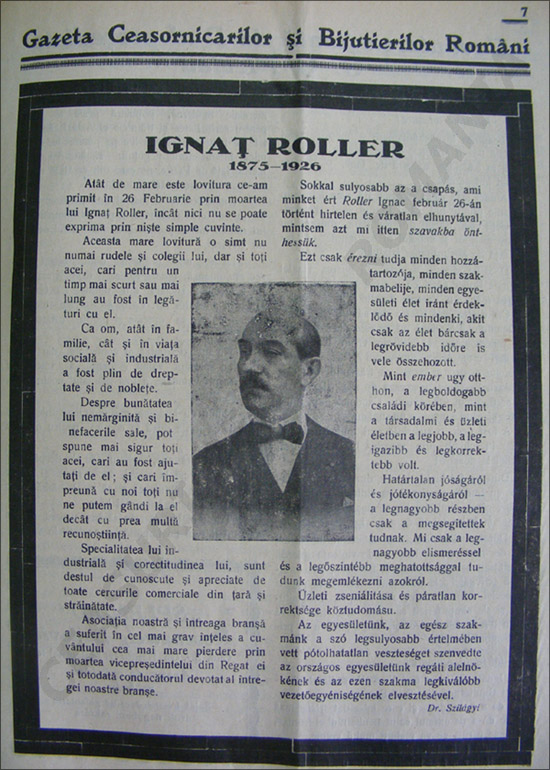 Gazeta Ceasornicarilor | martie 1926 | ferpar Ignatz Roller