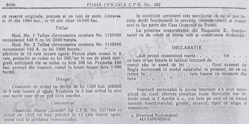 ceasuri CFR | Economatul CFR | Monitorul CFR 1930