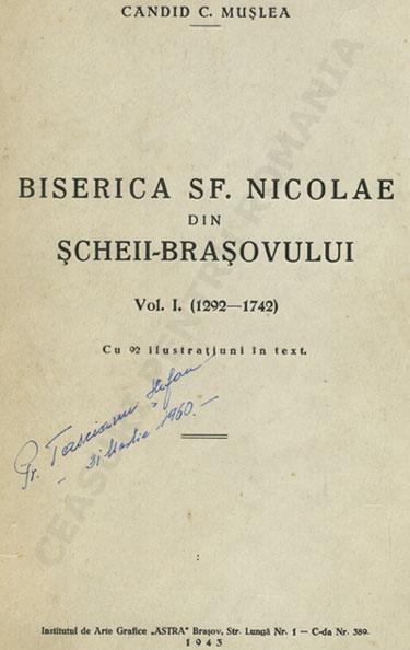 Candid C. Muslea | Biserica sf. Nicolae din Scheii Brasovului (vol.1 | 1292-1742)