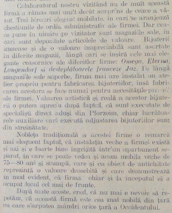 """O firma cu adevarat nobila"" - Moisi A. Mendel | Orologiul, an IV, nr. 5 - martie.1930"