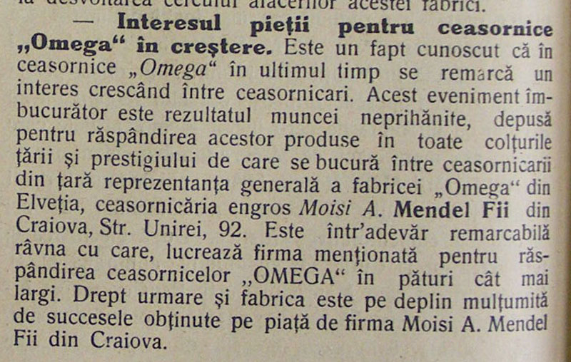 Omega | Moisi A. Mendel | Orologiul - 1935