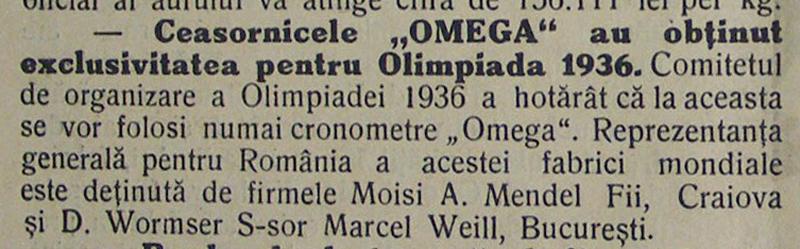 Omega | Olimpiada 1936 | Moisi A. Mendel