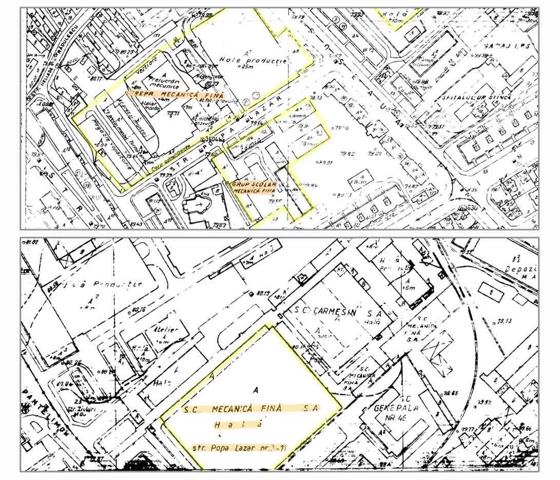 plan de situatie - zona Mecanica Fina - Bucuresti | anii '980