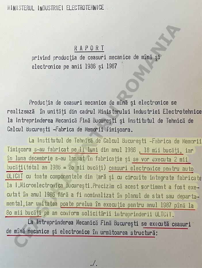 Raport Ministerul Industriei Electrotehnice - 8 decembrie 1986 | SANIC - Fond CC al PCR - Sectia Economica / dosar 174 - 1986