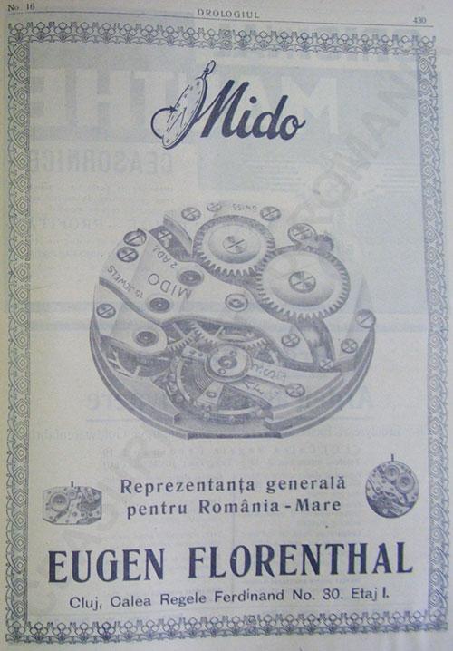reclama Mido - Eugen Florenthal | revista Orologiu - anii 1920-1930