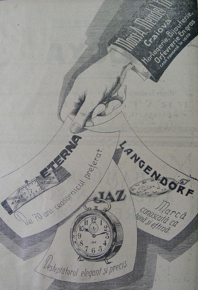 prima reclama Moisi A. Mendel Fii | in Orologiul, an VI, nr. 7, 30 noiembrie 1927