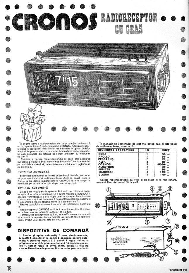reclama radioreceptor cu ceas Cronos | Tehnium nr. 3 - 1980