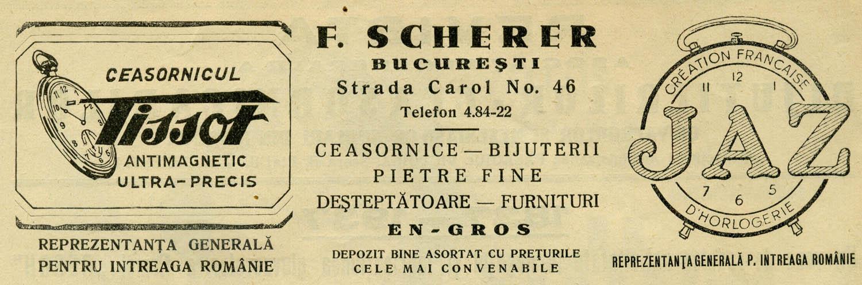 Tissot in Romania  | reclama F. Scherer | Revista Asociatiei Ceasornicarilor | 1938