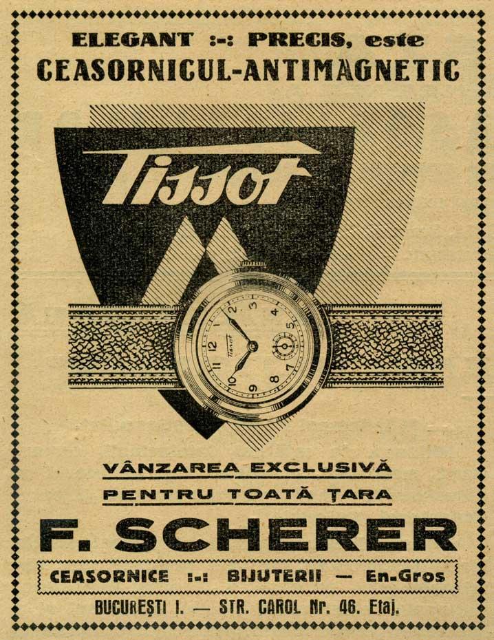 Tissot | reclama Revista Asociatiei Ceasornicarilor | 1939