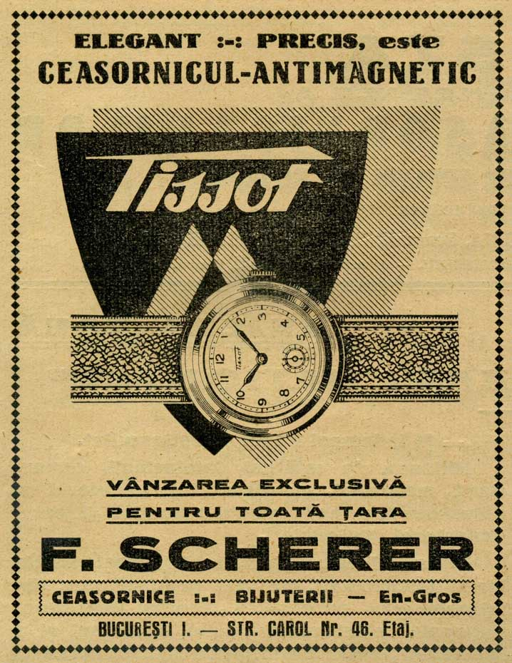 Tissot in Romania | reclama F. Scherer | Revista Asociatiei Ceasornicarilor | 1939