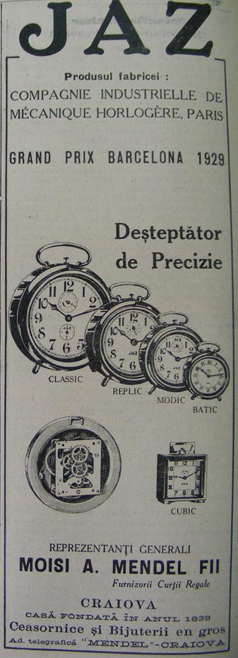 reclama Moisi A. Mendel | JAZ | 1930