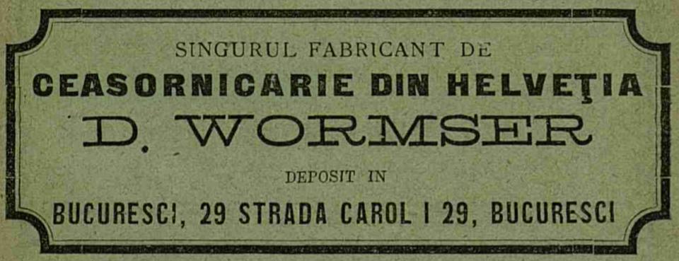reclama D.Wormser | Anuarul Bucurescilor - 1894