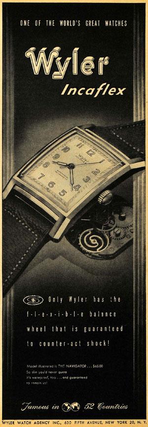 reclama Wyler - Incaflex | 1947