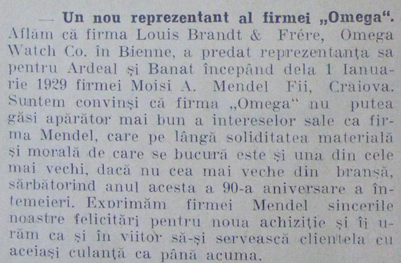 reprezentare Omega in Romania | 01.01.1929 | in Orologiul, an III, nr. 1 1929