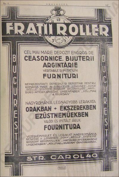 reclama Fratii Roller | 1927