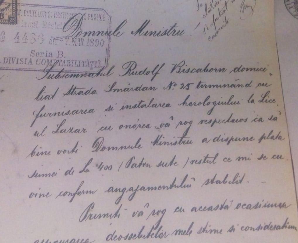 Rudolf Biscaborn | solicitare rest de plata ceasornic | 1890