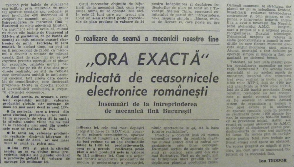 "Scinteia | 6.decembrie.1979 | ""Ora exacta"" - Ioan Teodor"