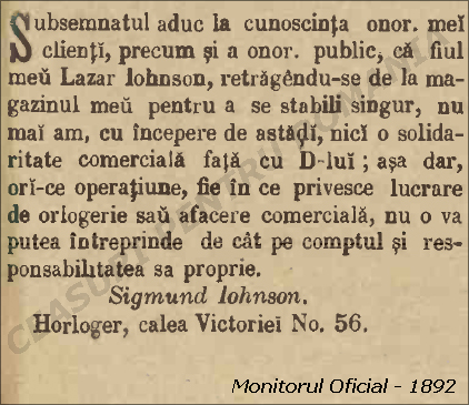 Monitorul Oficial - 1892 | Sigmund Johnson vs. Lazar Johnson