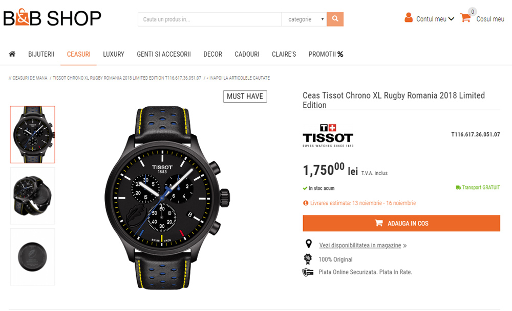 Tissot Chrono XL Rugby Romania 2018 (Limited Edition)
