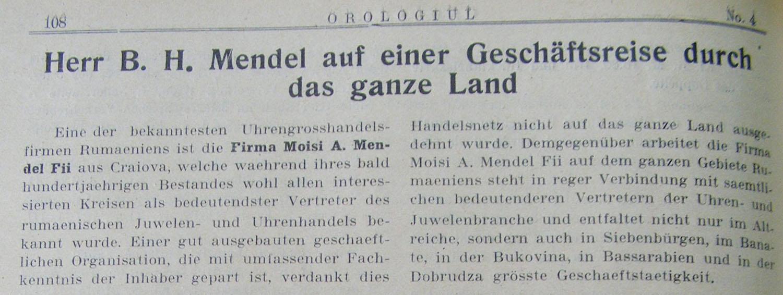 voiaj Hermann Mendel | in Orologiul an II nr. 4 - 1928