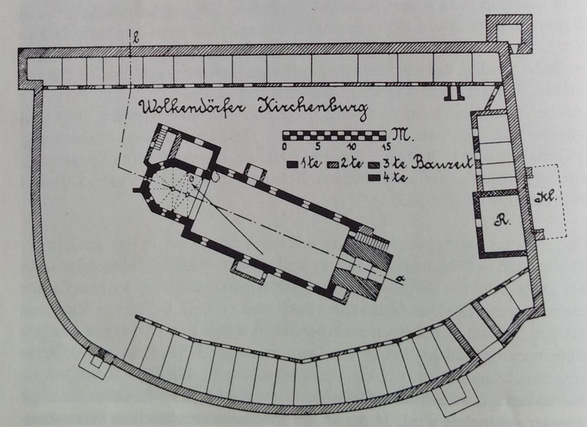 planul incintei / etape constructie - biserica Vulcan (dupa W. Horwath - ref. bibliografie 3)
