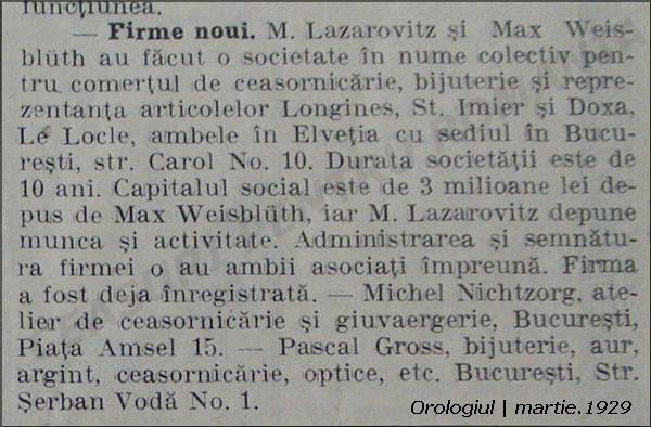 Orologiul | infiintare firma Max Weissblueth