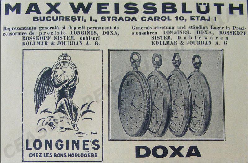 reclama Max Weissbuleth - Longines si Doxa | 1929
